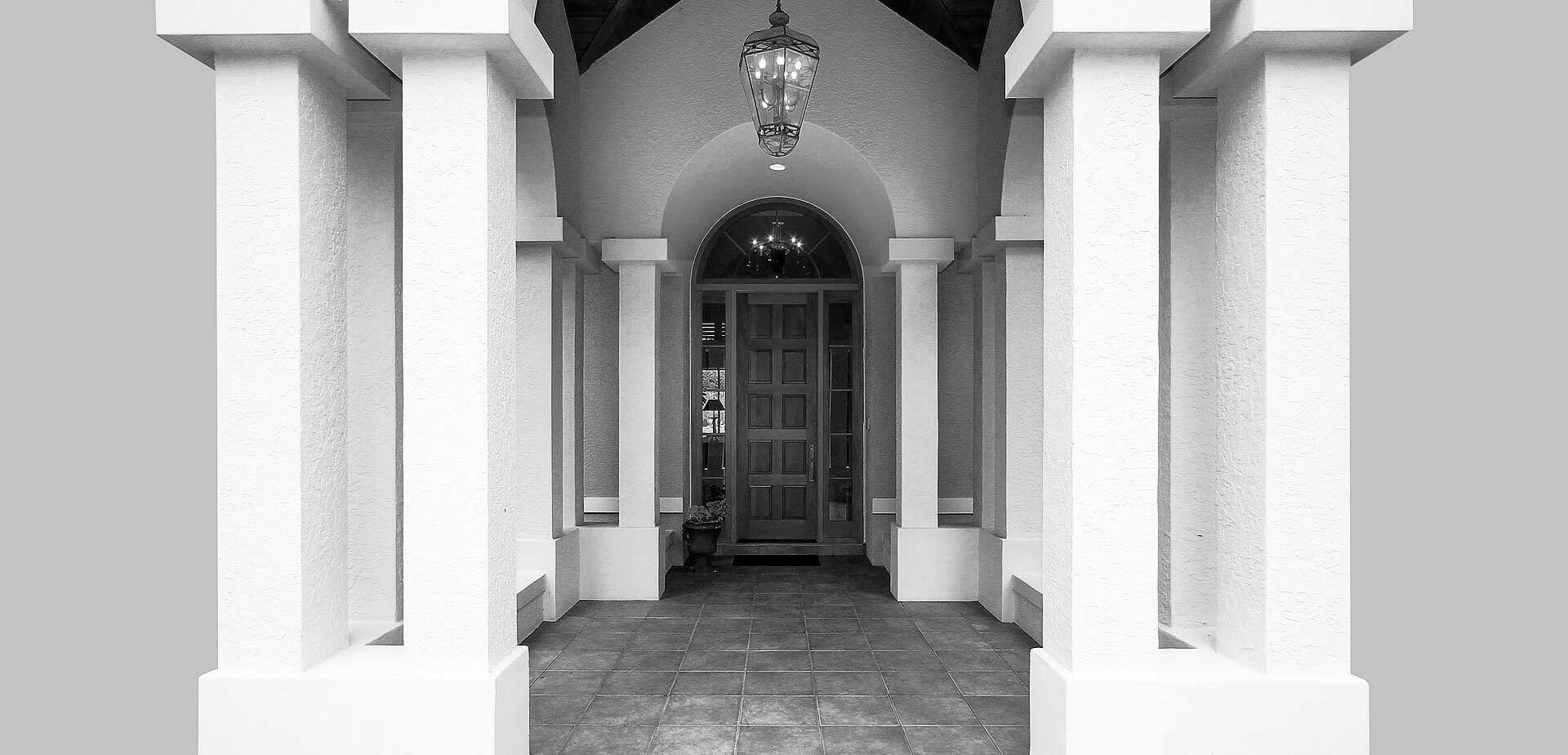 palace entrance grayscale